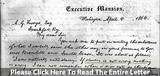 President Abraham Lincoln's Letter To Albert G. Hodges