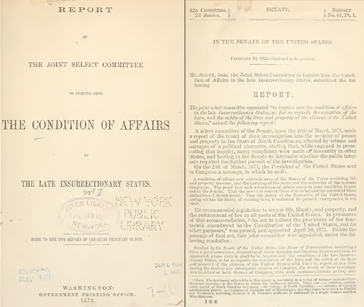 The 1872 Congressional Insurrectionary States Report Cover