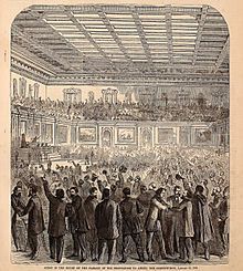 Celebration erupts after the amendment is passed by the House of Representatives. Harper's Weekly, 18 February 1865