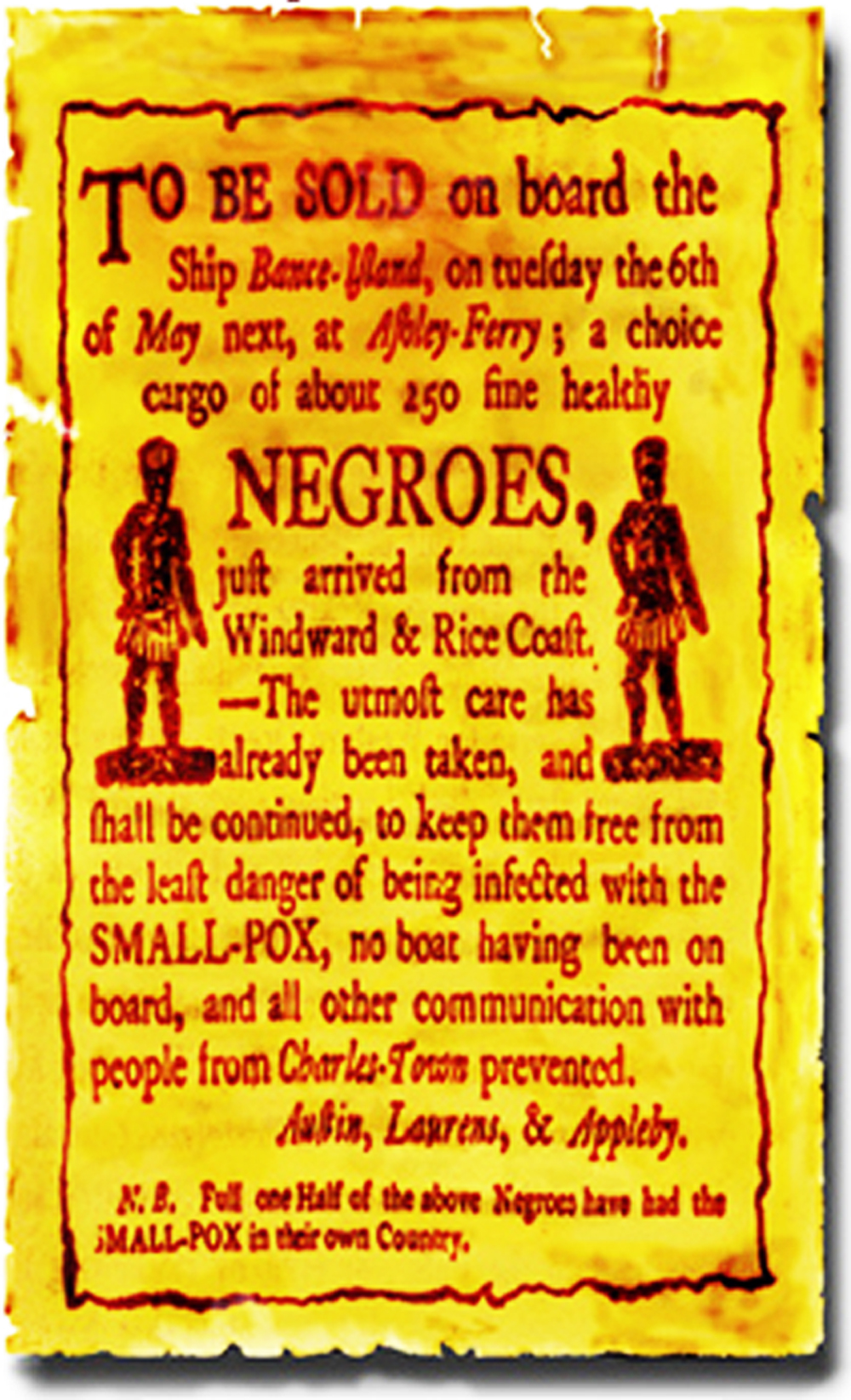 A Poster Advertising The Sale Of 250 Healthy Negroes