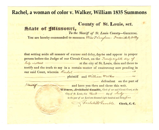 Summons: Rachel, a woman of color v. Walker, William