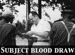 Doctor drawing blood as part of the Tuskegee Syphilis Study
